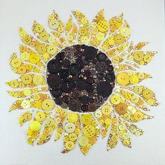MADE TO ORDER Sunflower Button Art Custom by PaintedWithButtons