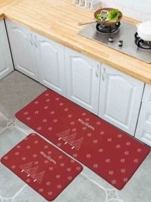 1pc Christmas Simple Pattern Kitchen Floor Mat 1pc Christmas Simple Pattern Kitchen Floor Mat 5 00 Usd In 2020 Kitchen Mats Floor Kitchen Flooring Rugs On Carpet