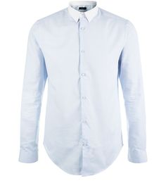 Pale Blue Contrast Collar Long Sleeve Shirt  | New Look