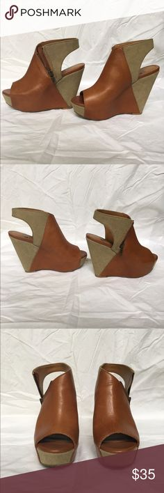 Gianni Bini Beige Tan Platform Open Toe Wedges •Brand- Gianni Bini •Size- 6.5 •Color- Beige and Tan, see photos •Style- Open toe bootie wedge •Material- Leather and Canvas-like fabric •Condition- Very good Gianni Bini Shoes Wedges