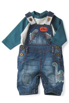 Buy Dino Denim Dungarees With Bodysuit (0-18mths) online today at Next: United States of America