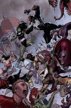 """Fuerza-V 5 Cruce con """"Secret Wars"""". El explosivo final del primer arco argumental de Fuerza-V. Aunque el equipo de Hulka haya desenmascarado a la traidora en sus filas, algunos no descansarán hasta que la isla utópica en la que ellas viven sea arrasada. ¿Podrán los horrores de Mundo de Batalla hundir Arcadia?"""