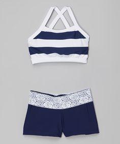 Navy Blue & White Stripe Crop Top & Shorts - Girls