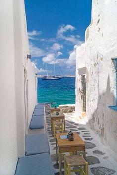 Photographic Print: Traditional Greek Alley on Mykonos Island, Greece by papadimitriou : 24x16in