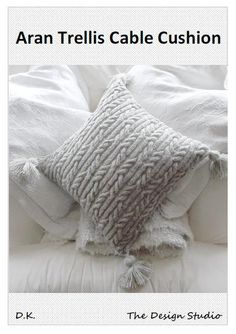 Aran Trellis Cable Cushion/Pillow Hand Knitting Pattern. PDF on Etsy, $5.00