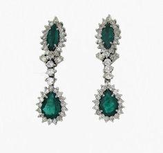 Pendientes de esmeraldas y brillantes