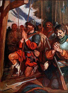 """La Pintura y la Guerra """"Conquistadors praying before a battle at Tenochtitlan""""  J.H. Robinson"""