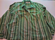 Women's St Johns Bay Green Striped Long Sleeve Button Down Blouse Size 2 XL #67 in Clothing, Shoes & Accessories, Women's Clothing, Tops & Blouses | eBay
