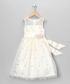 Ivory & Pink Rosette Dress - Girls