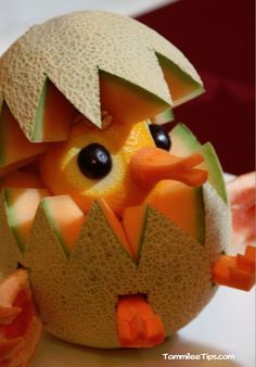 The cantaloupe chick edible food art would be adorable for Easter and spring.