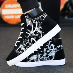 most wanted New Design Hip-Hop Fashion Graffiti High Tops Men's Shoes Casual Breathable Comfortable Rubber Sneakers Outdoor Footwear Flats Sneakers Fashion Outfits, Casual Sneakers, Sneaker Outfits, Casual Shoes, Men Sneakers, Fashion Flats, Men Casual, Fashion Shoes For Men, Cheap Fashion