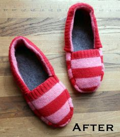 Upcycled Sweater Slippers - Save an old sweater and make a pair of comfy slippers. A great way to upcycle winter clothes. Buy a cheap sweater at a hand store. Striped Slippers, Cute Slippers, Felted Slippers, Pullover Upcycling, Alter Pullover, Recycled Sweaters, Old Sweater, Jumper, Creation Couture