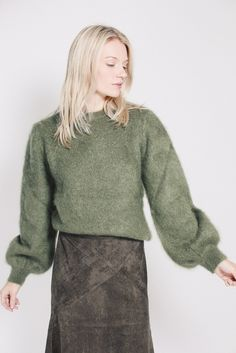 Mohair Knit - Olivine kaki sweater pullover by MAUD Turtle Neck, Pullover, Knitting, Sweaters, Fashion, Moda, Tricot, Fashion Styles, Breien