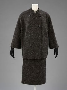 Artist/Maker Balenciaga, Cristóbal (designer) Date 1951 (made) Place Paris (made) Materials tweed, taffeta, silk Techniques Weaving, Tailoring, Sewing  Materials & techniques Tweed lined with taffeta and silk (the skirt slightly shortened)