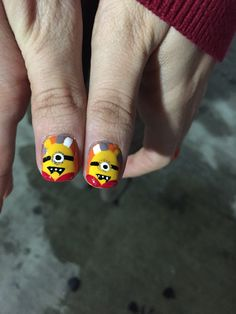Minion Thanksgiving nail art