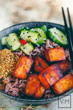 Gochujang Tofu + Pickled Cucumber Bowl #vegetarian #recipes