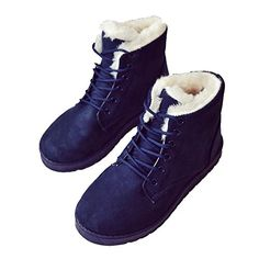 405d642fa63 Womens Cotton Boot Lace up Winter Warm Thick Comfortable Work Out Sneaekers  By Btrada