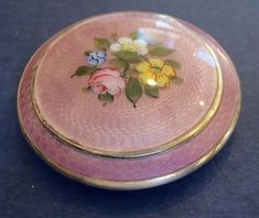 Sterling and Lavender Guilloche Enamel Compact from womansworld on Ruby Lane