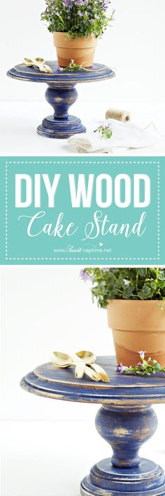 DIY Wood Cake Stand... an easy, customizable DIY perfect for displaying sweet desserts or favorite household items!