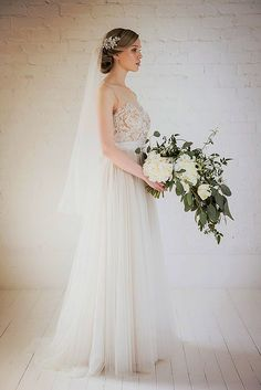 White Bridal Bouquet - Honeysuckle crystal embellished flower bridal hair comb by Halo and Co at Liberty in Love - $264.40