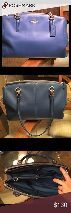 Coach Stanton Carryall Barely used Blue Coach Stanton Carryall. Crossgrain Leather. I've carried this for 4 months, excellent condition! No marks, or show of wear and tear! Lots of room, lots of pockets! Included long strap as well! Can add more photos of needed. **Last photo is strictly for color purpose!** Coach Bags Satchels