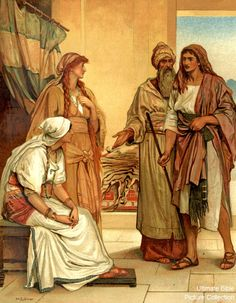 Genesis 29 Bible Pictures: Jacob with Laban and his daughters