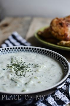 TZATZIKI ~    1 cup Greek yogurt 1 English cucumber , finely grated and drained 2 cloves garlic finely minced 2 tbsp. fresh or dried dill 1 tsp. olive oil Salt and pepper to taste  DIRECTIONS:  1.  Whisk together yogurt, cucumber, garlic and dill. 2. Stir in Olive oil. 3. Season with salt and pepper and chill in refrigerator.