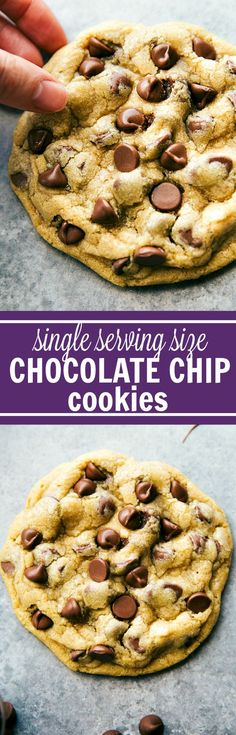Single-Serving Size Chocolate-Chip Cookies - Quick, easy, and NO HOUR-LONG CHILLING! A small batch, single-serving-sized bakery style large chocolate-chip cookies.