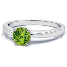 .04ctw Halo Diamond and 5mm Peridot Gemstone Ring in Platinum ($1,149) ❤ liked on Polyvore