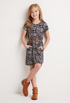 Abstract Tile Print Dress (Kids)   Forever 21 girls - 2000141772
