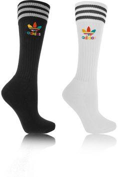 adidas Originals | + Pharrell Williams Dear Baes set of two cotton-blend knee socks | NET-A-PORTER.COM