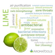 Holistic Remedies Essential Oil Spotlight: Lime - Lime (Citrus aurantifolia) essential oil is cold-pressed from the peel of the fruit. Lime oil is distinguished by its sweet, tart, intense, and lively aroma. This oil contains antibacterial, antise… Helichrysum Essential Oil, Essential Oils For Colds, Essential Oils Guide, Citrus Essential Oil, Essential Oil Uses, Essential Oil Diffuser, Oils For Energy, Cedarwood Oil, Healing Oils