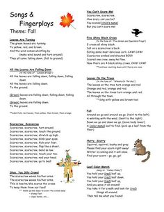 fingerplays fall - Read more about scarecrow, squirrel, swish, squirrels, tumble and crows. Preschool Fingerplays, Fall Preschool Activities, Preschool Music, English Activities, Children Activities, Preschool Lessons, Children Books, Preschool Learning, Teaching