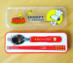 Peanuts Snoopy Lunch Tableware Spoon and Chopsticks Utensils Set in Case Red
