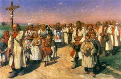 """Włodzimierz Tetmajer (1861-1923)  """"Procesja w Bronowicach."""" 1900"""