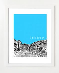 Telluride Colorado Poster  8x10 City Skyline Art by BugsyAndSprite, $20.00