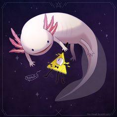 This axolotl is really adorableee Gravity Falls Funny, Gravity Falls Fan Art, Gravity Falls Bill Cipher, Gravity Falls Comics, Axolotl Cute, Grabity Falls, Little Misfortune, Fall Memes, Desenhos Gravity Falls