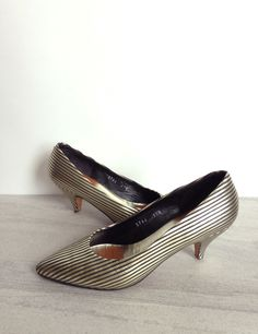 1980s Gold Black Stripe High Heels