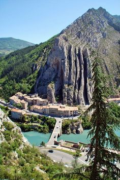 Sisteron, France - View from the citadel on the remarkable rocks.