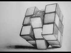 Drawing of Rubic's Cube in 3D (pencil shading) - YouTube 3d Art Drawing, Object Drawing, Art Drawings Sketches Simple, Cool Art Drawings, Pencil Art Drawings, Realistic Drawings, Geometric Shapes Drawing, Geometric Art, Architecture Drawing Sketchbooks