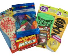 """Amazon.com: 7pc. """"Bored Buster"""" Teen and Tween Gift Activity Set Paddle Ball Balloons Whoopie Cushion Magic Card Deck Mind Teaser Puzzle and Play Mustaches: Toys & Games"""
