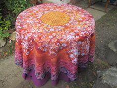"Batik Fine Art Tablecloth ""Sun Mandala"" round on Polyester by goldphinbatik on Etsy Sun Mandala, Washing Machine And Dryer, Dishwashing Liquid, Bleach Wash, Square Tables, Wave Pattern, Sell On Etsy, Sunny Days, Fine Art"