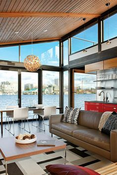 Right on the water in Seattle // floating home living room renovation in Seattle, Washington Home Living Room, Living Room Decor, Living Spaces, Kitchen Living, Mini Loft, Decorating Small Spaces, Decorating Your Home, Floating House, Floor To Ceiling Windows