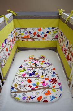 Tour de lit ouatiné 3 panneaux - Ensemble Lilou : Linge de lit enfants par elise-atelier