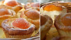 Meruňkové košíčky připravené z tvarohového těsta. Těsto je křehoučké a meruňky dodají košíčkům vynikající chuť!