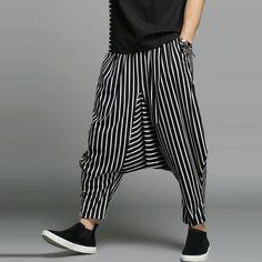 a90d2b557 Mens Casual Loose Elastic Waist Pockets Harem Pants Black Harem Pants  Outfit, Boho Pants,