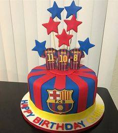 Ideas para fiestas de fútbol Barcelona | Tarjetas Imprimibles Pastel Del Barcelona, Bolo Do Barcelona, Barcelona Party, Messi Birthday, Soccer Birthday Cakes, Soccer Party, Soccer Cakes, Wilton Cakes, Cake Designs