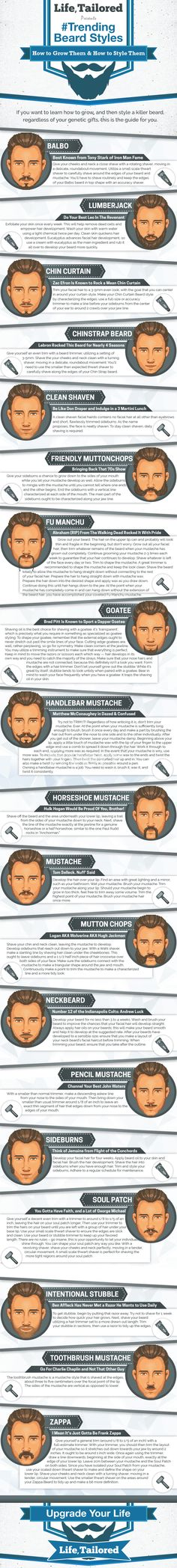Men's beard styles that are super dope http://lifetailored.com/style/hairstyle/beard-styles-infographic/