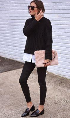 Black, white + faux fur clutch.