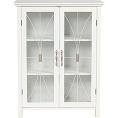 @Overstock - Add extra storage to any room with this elegant floor cabinet. Made from composite wood and birch veneer, this cabinet features tempered glass doors with satin nickel handles. The simple style and clean lines make this a great addition to your furniture.http://www.overstock.com/Home-Garden/Veranda-Bay-White-Floor-Cabinet/5822828/product.html?CID=214117 $129.99